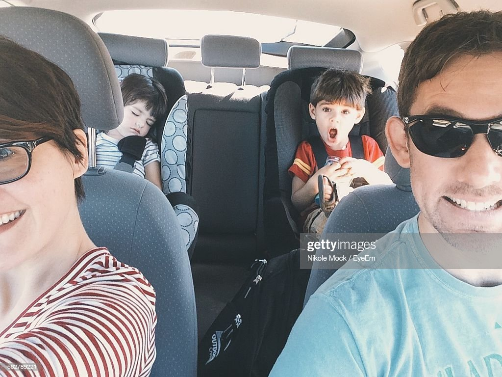 Happy Family In Car For Road Trip : Stock Photo