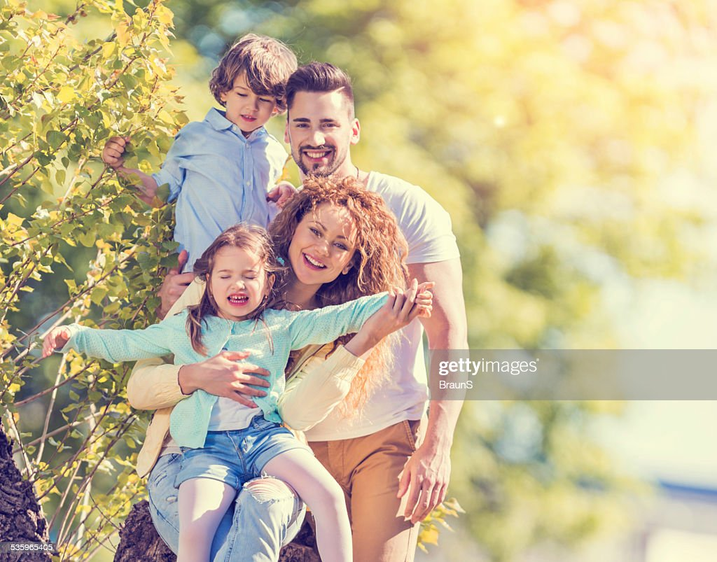 Happy family in nature. : Stock Photo