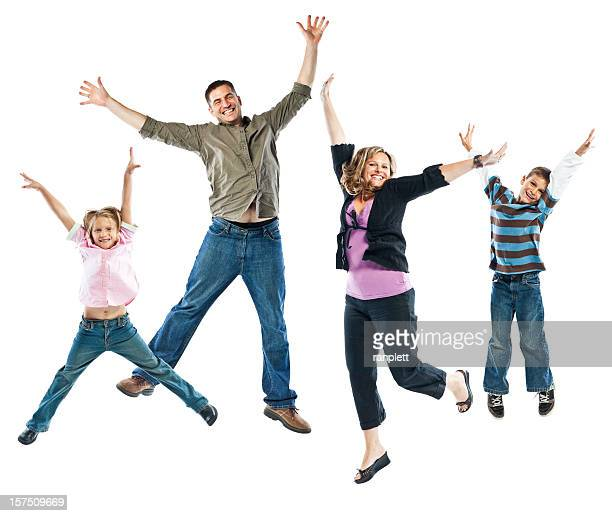 Happy Family Jumping Isolated on White Background