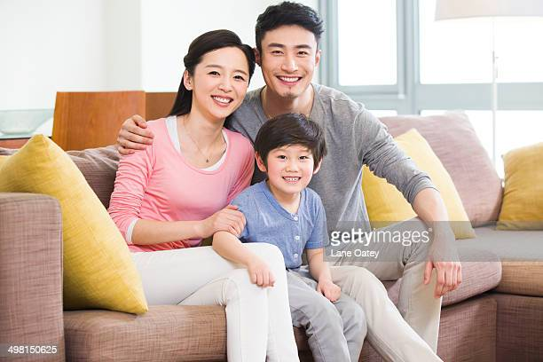 Happy family of three