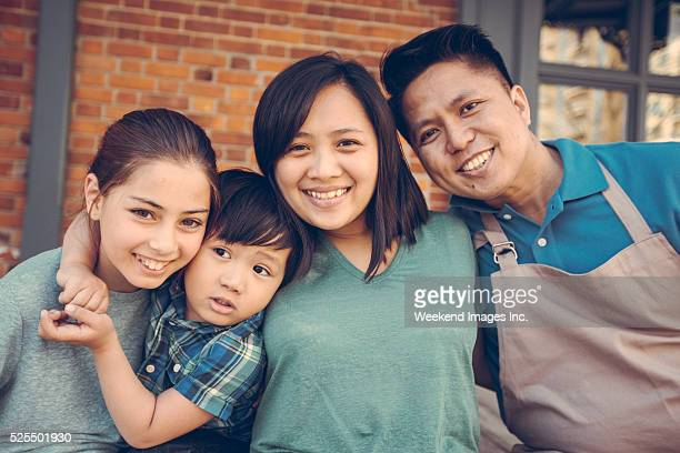 Happy family of young entrepreneurs