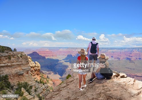 Happy family on hiking trip in beautiful mountains. : Stock Photo