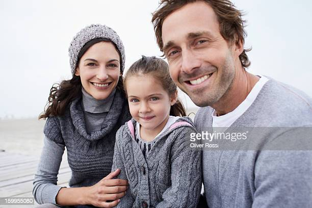 Happy family on the beach, portrait