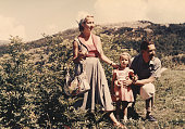 Happy family on vacation in mountain,1952 Dolomites alps