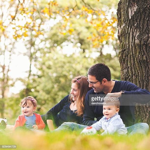 Happy family outdoors in nature having a good time