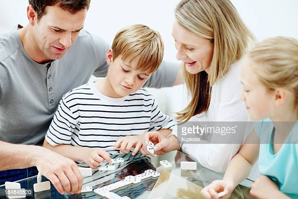 Happy family playing games