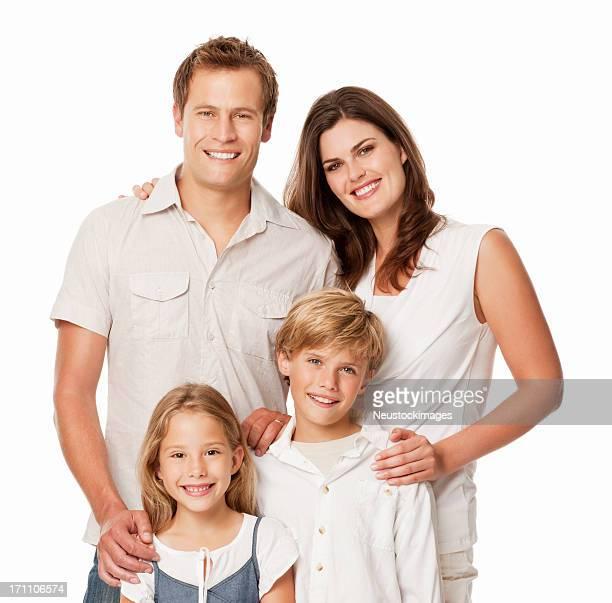 Glückliche Familie-isoliert Porträt