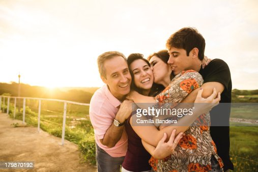 Happy family was smiling and embracing