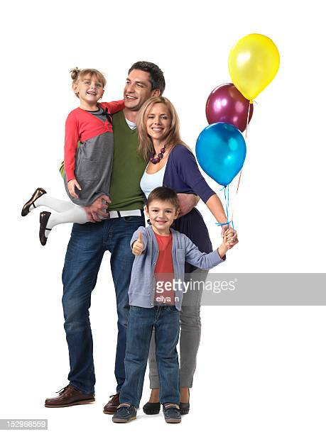 Happy family with a child holding 3 balloons