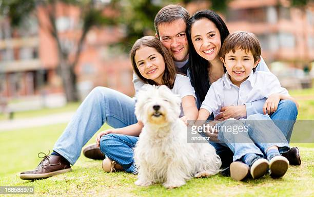 Happy family with a dog