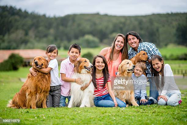 Happy family with dogs