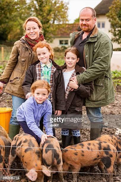 Happy Farming Farmily in Rural England