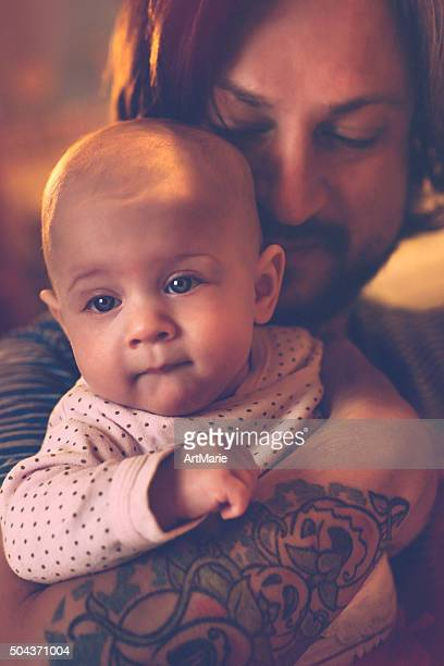 Happy father and baby