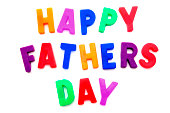 Happy Fathers Day spelled with colorful magnetic letters over white