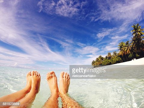 Happy feet in tropical paradise