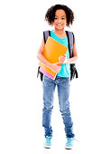 Happy young female student with a notebook - isolated over white