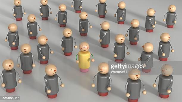 Happy figurine standing among crowd of unfriendly ones