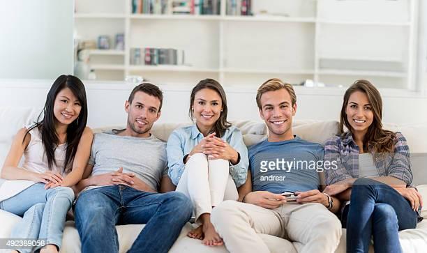 Happy flat mates sharing house