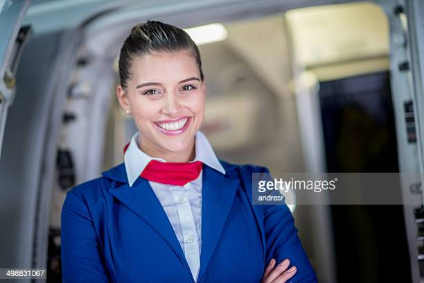 Happy flight attendant