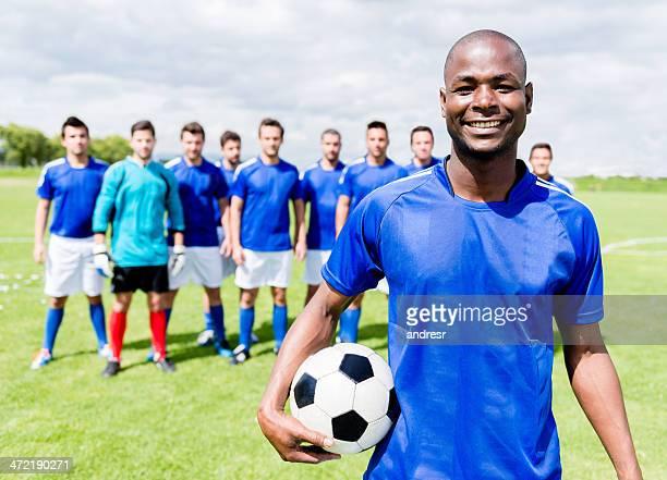 Feliz jugador de fútbol