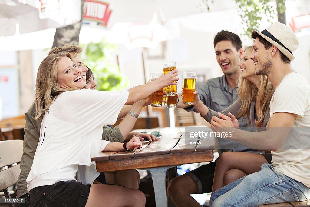 Happy Friends Drinking Beer : Stock Photo