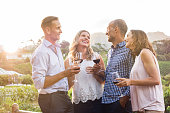 Two relaxed mature couples laughing and enjoy glasses of red wine at sunset. Group of happy friends celebrating outdoor and toasting with glassess. Happy man and smiling women having fun at vineyard.'