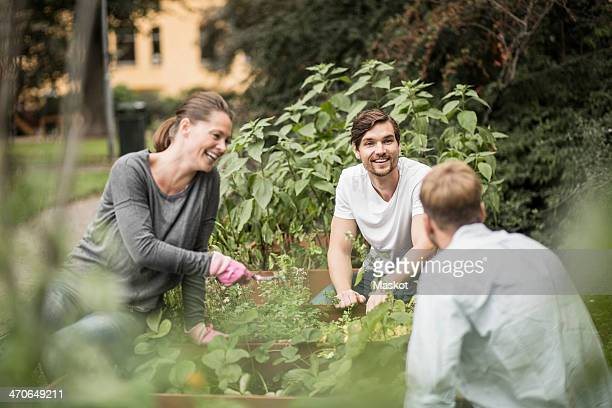 Happy friends gardening together outdoors