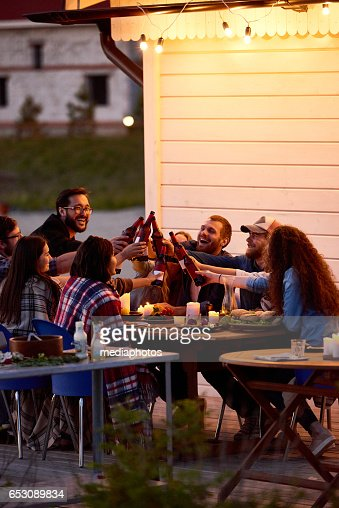 Happy friends in backyard : Stock Photo