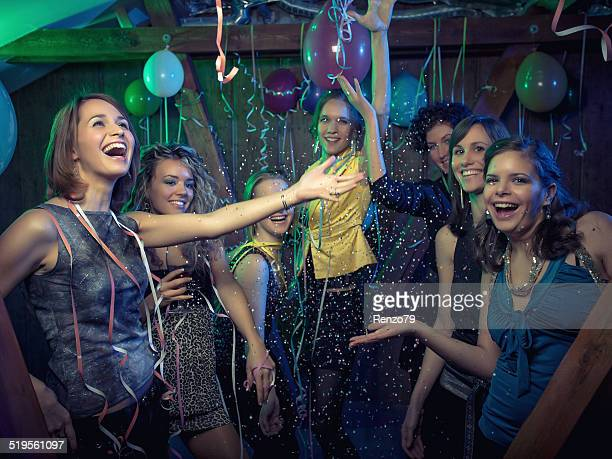 Happy friends on a party photoshoot