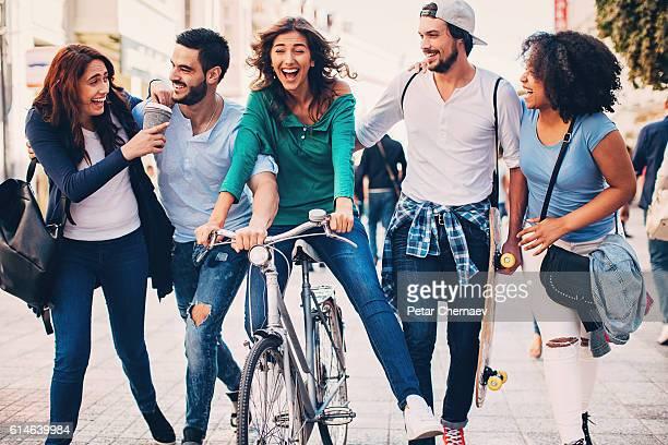 Happy friends on the street