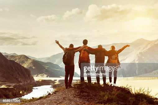 Happy friends travel expedition concept : Stock Photo