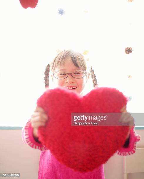 Happy Girl Holding Red Heart Cushion