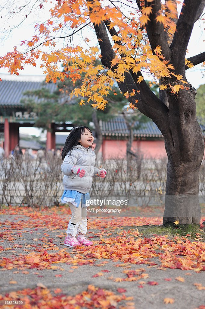 Happy girl looking up maple leaves : Stock Photo