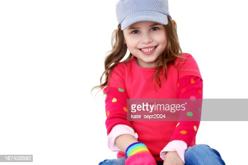 Happy girl over white background : Stock Photo