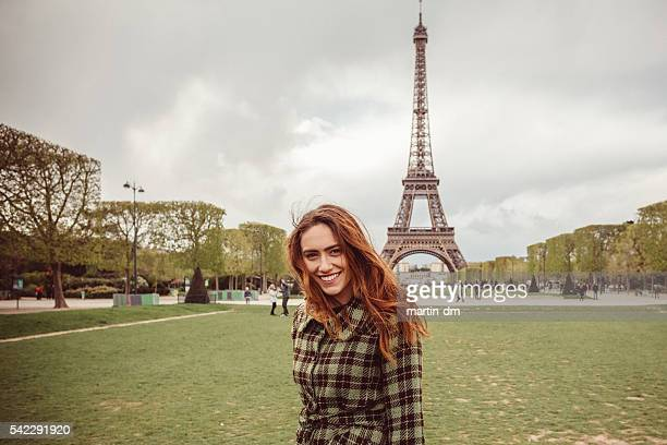 Happy girl sightseeing in Paris