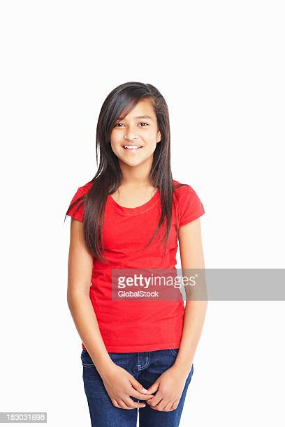 Happy girl standing isolated against white background