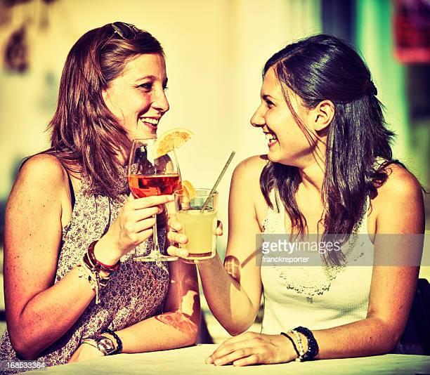 Happy Girl toasting at bar - HDR