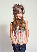 Happy Girl wearing fur hat