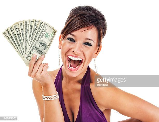 Happy Glamorous Young Woman Holding Money