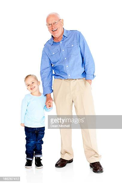 Happy grandfather and grandson isolated on white