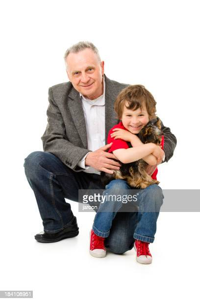 happy grandfather with grandchild and dog