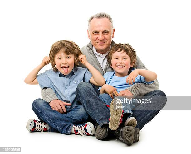 happy grandfather with grandchildren