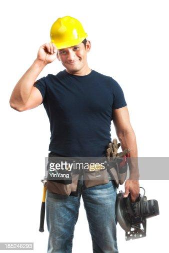 Happy Greeting Hispanic Construction Worker Handyman on White Background