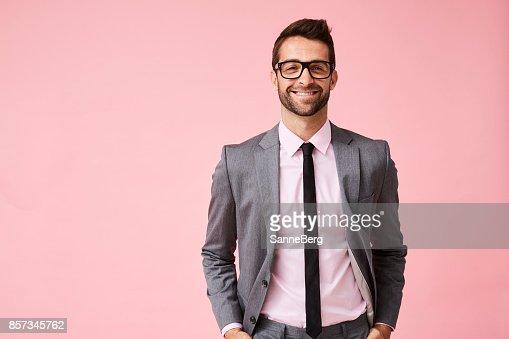 Happy grey suit guy : Foto de stock