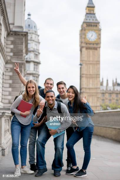 Happy group of English students in London