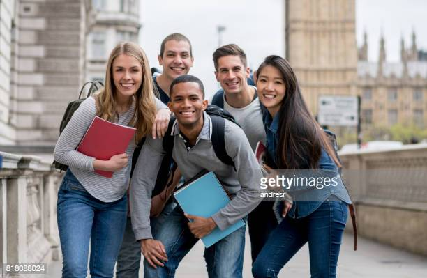 Happy group of exchange students in London