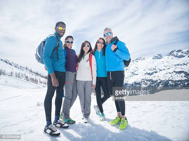 Happy group of hikers