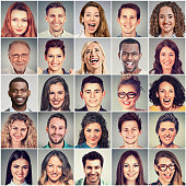 Smiling faces. Happy group of multiethnic positive people men and women'n