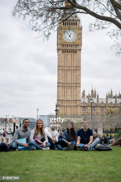 Happy group of students in London