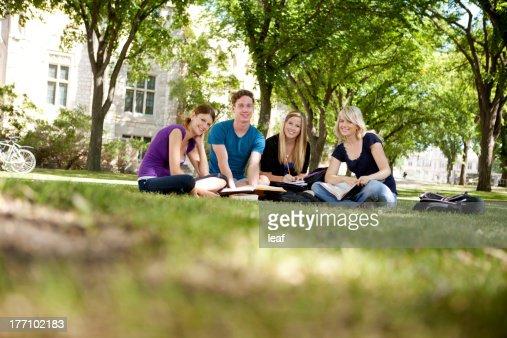 Glückliche Gruppe von Studenten : Stock-Foto